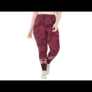 Ideology Plus Size Tie Dyed Leggings RedPassion 3X